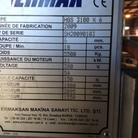 Cisaille tole occasion Ermaksan HGS3106